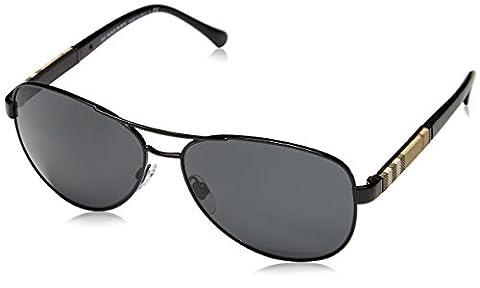 Burberry Unisex Sonnenbrille BE3080, Gr. Large (Herstellergröße: 59), Schwarz (Gestell: schwarz, Gläser: grau 100187)
