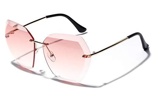 WDXDP Sonnenbrillen Große Sonnenbrille Ohne Rahmen Für Damen Mit Polygon-Klarsichtscheibe Und Randloser, Übergroßer Sonnenbrille Für Damen-Sommermode, Wie In Fotorosa Gezeigt