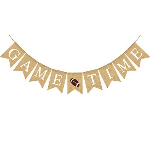 Amosfun Wimpelkette zum Aufhängen von Spielzeit mit Buchstabendruck, Banner für Sport-Partys, Girlande zum Aufhängen, Rugby, American Football Banner