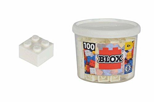Simba 104114113 - Blox 100 Bausteine in Dose,weiß, 4er Steine