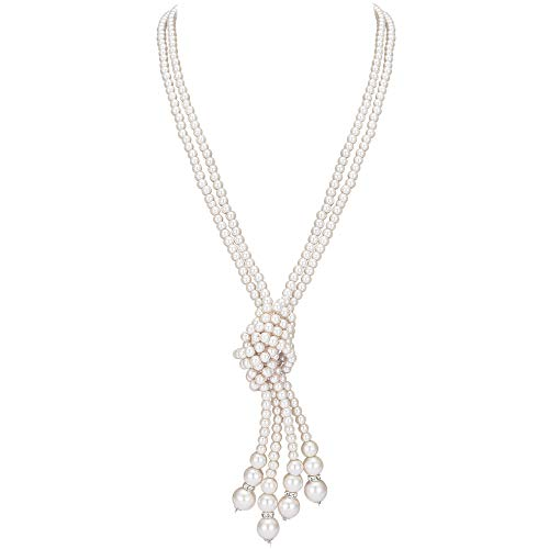 Coucoland 1920s Halskette Damen Lange Imitation Perlen Kette Great Gatsby Stil Schmuck Knoten Perlenkette 125 cm Fasching Kostüm Zubehör (Weiß 2)