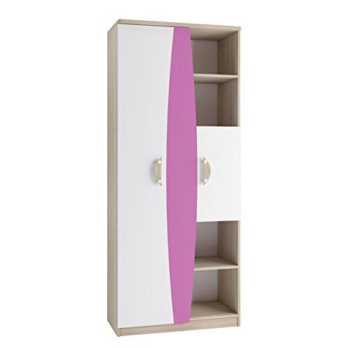 2 Tür Eiche Bücherschrank (Regal Tenus II R80, Standregal Dekoregal, Farbauswahl, Wandschrank, Bücherregal für Jugendzimmer Kinderzimmer (Eiche Sonoma / Weiß + Krokus))