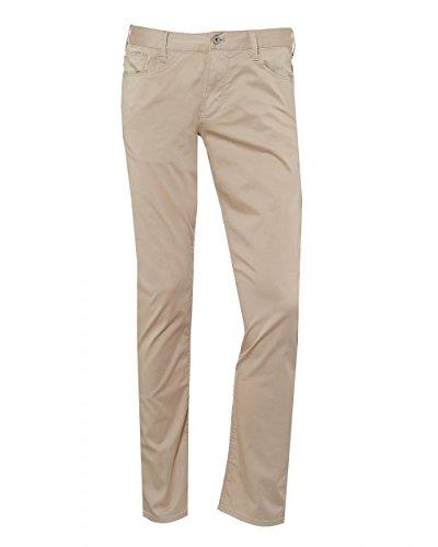 Emporio Armani Mens J06 Jeans, Stretch Cotton Gabardine Slim Beige Denim