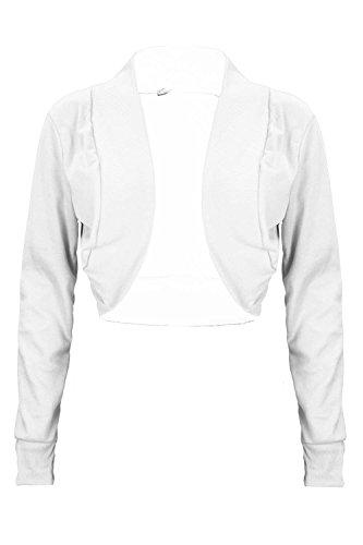 Damen Dehnbar Gerippt Langärmlig Baumwolle Bolero Freizeit Party Strickjacke Shrug-jäckchen Jacke Bauchfreies Top Übergrößen Weiß