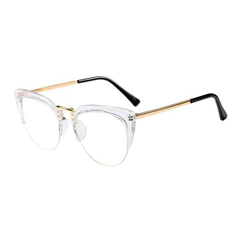 Xinvision Cat Eye Semi-Rimless Im Freien Brille Mode Klare Linse Brillen Halber Rahmen Zusammengesetzt Rahmen Retro Persönlichkeit Eyewear für Damen Mädchen