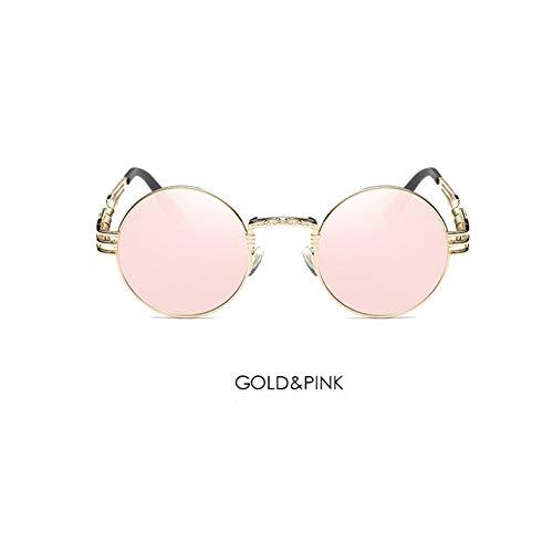 CCGSDJ Marke Metall Sonnenbrille Männer Frauen Runde Sonnenbrille Steampunk Beschichtung Gläser Vintage Kreis Eyewear Männlich Für Fahren