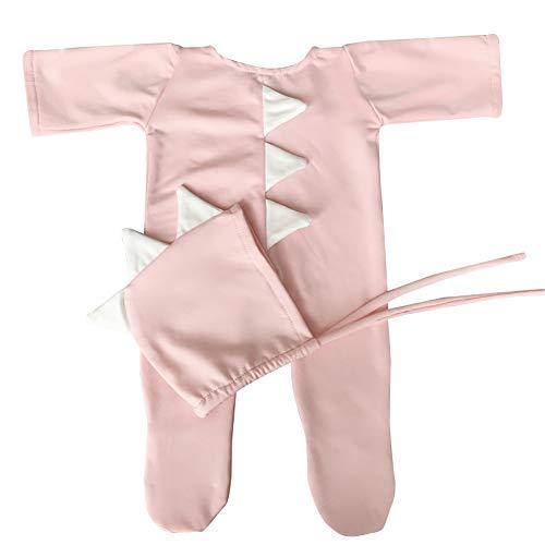iKulilky Kinder Fotografie Kleidung Neugeborenen Baby Dinosaurier Kriechende Kleidung + Hut Set für Jungen und Mädchen - Hell (Neugeborenen Dinosaurier Kostüm)