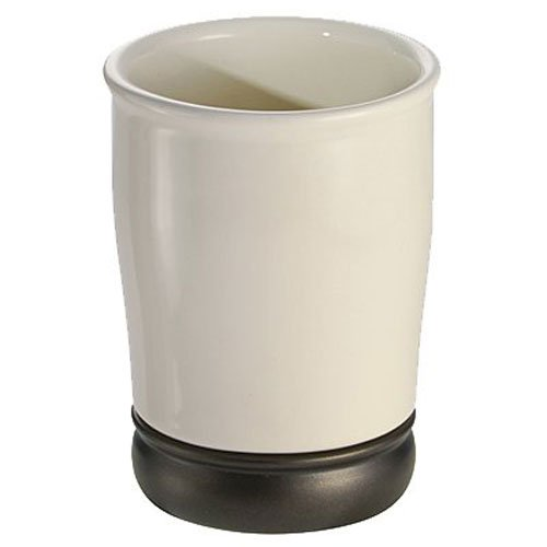 Adler Zahnbürste (InterDesign York Trinkbecher, praktischer Becher zur Aufbewahrung aus Keramik und Metall, vanille/bronzefarben)