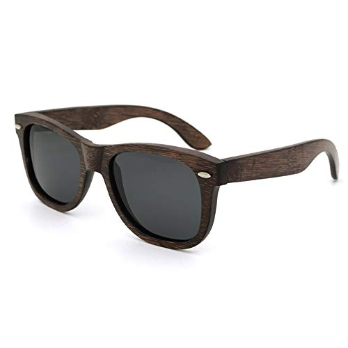 Easy Go Shopping Holz polarisierten Sonnenbrillen, Unisex Vintage Outdoor Travel Driving Sonnenbrillen Sonnenbrillen Sonnenbrillen und Flacher Spiegel (Farbe : Brown/Black)