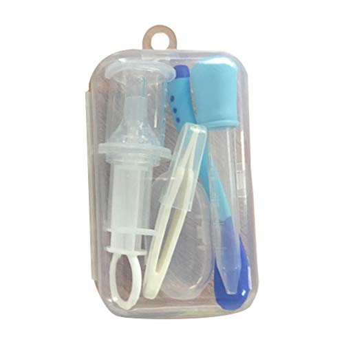 Baby Pflege Set, Isuper 5 -Teiliges Baby Körperpflege Set mit Baby Medizin Spritze, Tropfer, Löffel, Nase Pinzette und Finger- Zahnbürste (Blau)