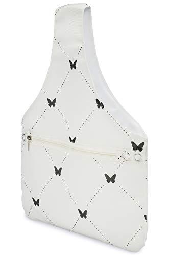 Häkeln Handtasche (JamieCraft Garntasche - tragbar, leicht und einfach zu transportieren, Leinen-Handtasche zum Häkeln und Stricken unterwegs, Projekttasche hält Zubehör und 35,6 cm Nadeln oder Haken Schmetterlinge)