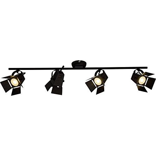 Moderne LED Deckenleuchte / Deckenspot, 4x LED GU10 5W inkl., 4x 345 Lumen, 3000K warmweiß, Metall, schwarz matt -