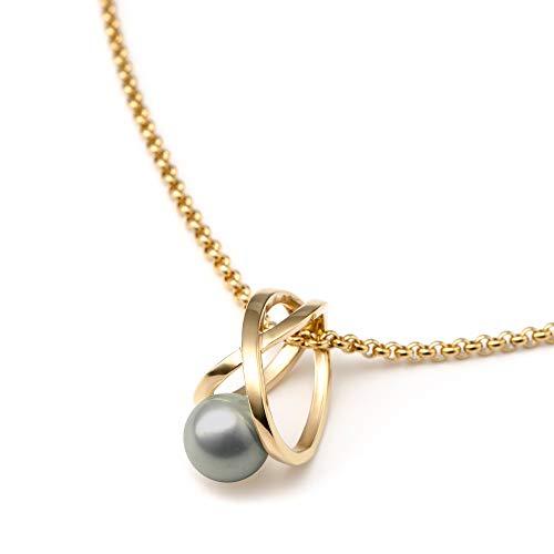 Heideman Halskette Damen Facilis aus Edelstahl Silber farbend poliert Kette für Frauen mit Swarovski Weiss Perlenkette mit Anhänger Brautschmuck Light Grey Gr. ha23671-7-15-50