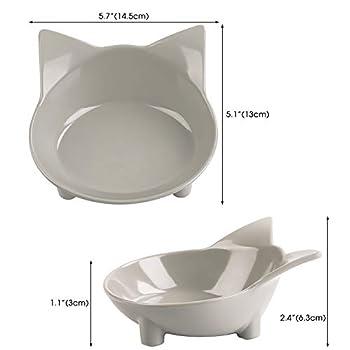 Legendog Bol Chat,Bol de Chat en Peu Profonde Bouche Plat Bol Chat Antidérapant Gamelle Bowl d'eau Chats Chaton, 2 Pièce