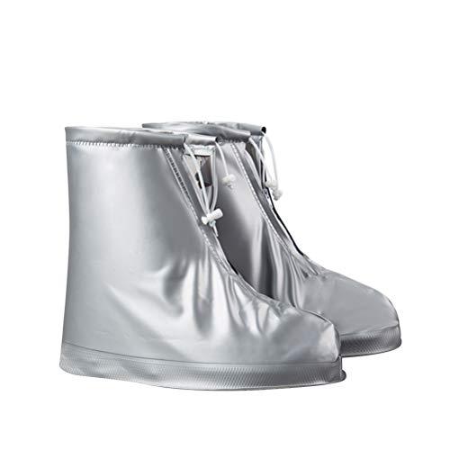 LIOOBO Scarpe da Pioggia Impermeabili Antiscivolo per la Corsa da Viaggio Covers riutilizzabili da Neve per Le Donne Uomo (Grigio Argento, L)