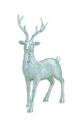 G. Wurm KG Hirsch-Figur/Deko-Figur Hirsch in Silber - Deko-Figuren - Weihnachts-Figuren - Weihnachten - Weihnachts-Deko - Maße: B/T/H19 cm x 9 cm x 28 cm -