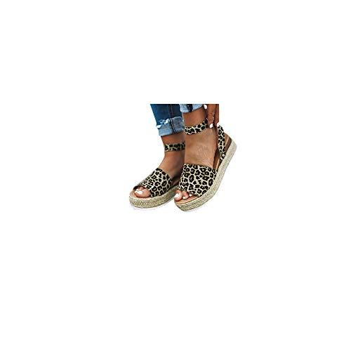 Damen Espadrilles Sandalen mit Leoparden Print, Plateausohle Strandsandalen Schnalle Sommer Bequeme Elegante Sandaletten Celucke