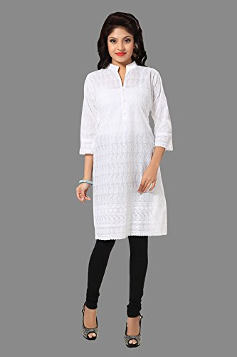 All plus size kurtis & small size kurtis for Women's in cotton chikankari of white color with A-line style by D&D(White-46)