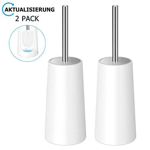 Homemaxs WC-Bürste und Behälter 2er Pack, WC-Garnitur Klobürste mit Längere Griff, Modernes Stylisch Toilettenbürsten für die Toilette - Weiß (WC-Bürste) ... (Style 1)