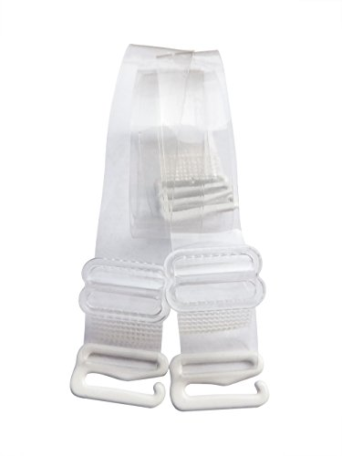 DoHope Damen Transparent BH-Träger Einstellbar Durchsichtige Unsichtbar BH Träger mit Metallhaken (Halter Style - 12mm, Halter Style (2 Stück)) -