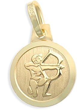 Sternzeichen Tierkreiszeichen Schütze & Schutzengel 14 Karat Gold 585 Anhänger Durchmesser 10mm (Art.213127)