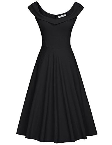 MUXXN Damen 1950er Boot-Ausschnitt Muster Hanhnentritt Party Swing Kleid(S, Black) (Kleid Frauen Seide)