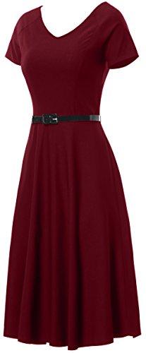 Gigileer Damen Vintage V-Ausschnitt Schwingen Rockabilly Ballkleid Kleider Cocktailkleid Burgundy S - 3