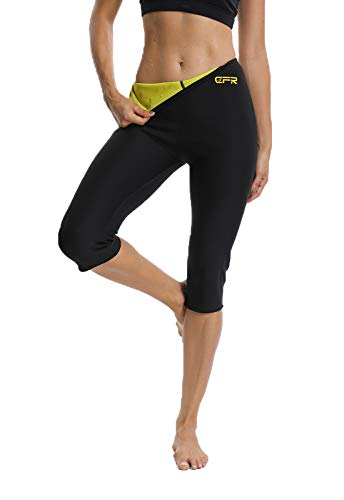 FITTOO Pantalon Sudation Femme Legging Minceur Transpiration pour Fitness Sport Gym, Jaune et Noir, XXL