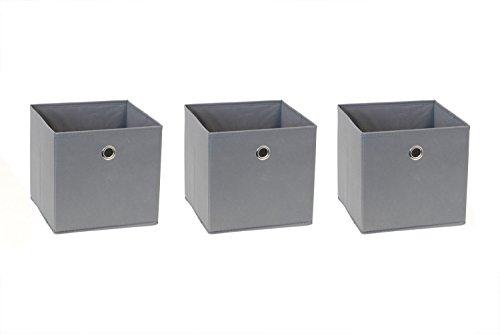 New Swedish Design IKEA Billy Regal Faltbox 24 x 23 x 24 cm Spielzeugbox Regalkorb Klappbox Regalbox Storage Box Stoffbox faltbar Spielzeug Aufbewahrung / 3er-Set/AUSF. 3 Boxen grau anthrazit -