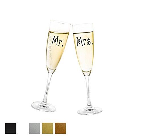 Aufkleber Hochzeit - Mr. & Mrs. für Sektglas (Schwarz) Glasaufkleber für Gläser Selbstklebend Hochzeitsgeschenk, Geschenk, Geschenkidee, Hochzeitsdekoration