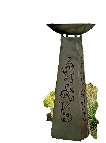 Säule mit Schale Rankenmotiv Metall 101 cm (G69322) Gartendeko Schalenständer