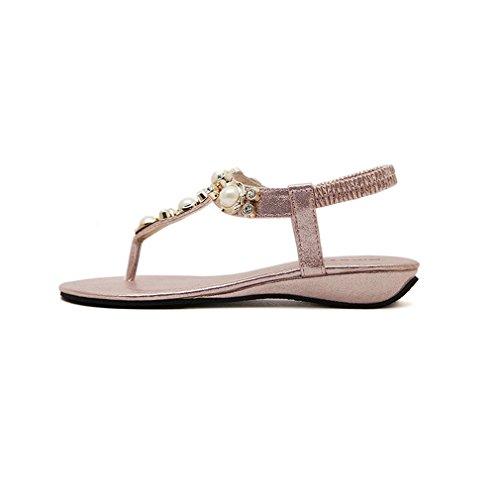 Damen Sommer Bohemia Schuhe Strass Flach Flip-Flop Mädchen Bequeme Strand Zehentrenner Sandalen Pink-1