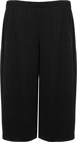 WearAll New Womens Plus Size Crepe Plain Stretch Wide Leg Culottes Ladies Shorts 12-30