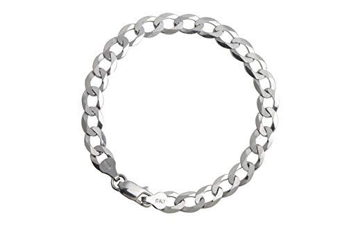 9d013b182 AKA Jewellery - Men 925 Sterling Silver Rhodium Bracelet - Flat Cuban Curb  Chain 7.4 mm