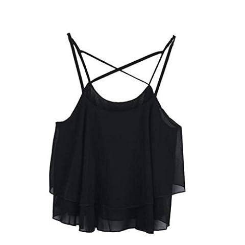 Internet Damen Weste Unregelmäßige Strap Floral Print Chiffon Camisole Shirt Sommer (Freie Größe, Schwarz