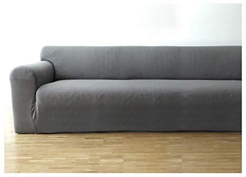 Bellboni® Couchhusse, Sofabezug, bi-elastische Stretchhusse, Spannbezug für viele gängige 3er Sofas, grau