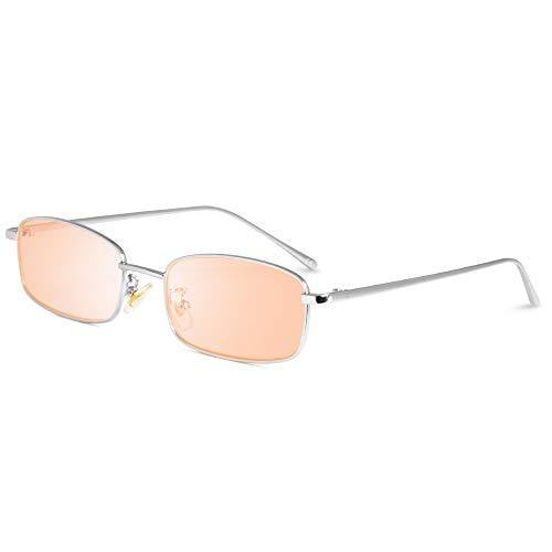 AMZTM Rechteckige Sonnenbrille - Vintage Mode Kleine Metallrahmen Brillen für Damen Herren Candy Color Linse UV400 Schutz HD Vision Schlanke Sonnenbrillen(Silberrahmen, rosa Linse)