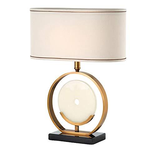Moderne Minimalistische Tischlampe, Chinesische Jade Ring Art Stoff Lampenschirm Metall Schreibtisch Lichter für Schlafzimmer Wohnzimmer Nachttisch, E27, 18 X 24 Zoll - Jade-glas-schreibtisch
