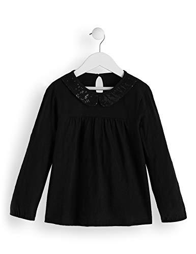 RED WAGON Mädchen Sequinned Collar TOP Langarmshirt, Schwarz (Black), 104 (Herstellergröße: 4)