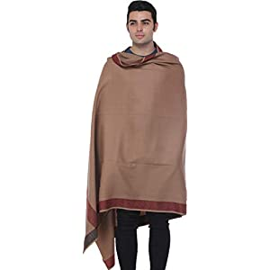 Exotic India Plain Men's Shawl with Brown Woven Border