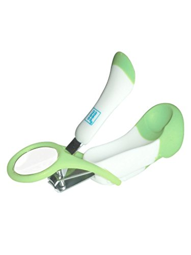 Mee Mee Gentle Nail Clipper with Magnifier, White/Green