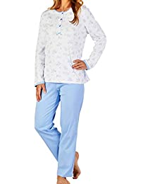Slenderella Ladies Luxury Rose Flower Print 170gsm 100% Soft Brushed  Egyptian Cotton 3 Button Long Sleeve Pyjamas… 677bf923d