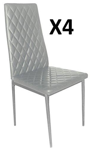 Lot de 4 Chaises longue de salon Gris/Gris argent, 500 x 415 x 950 mm -PEGANE-