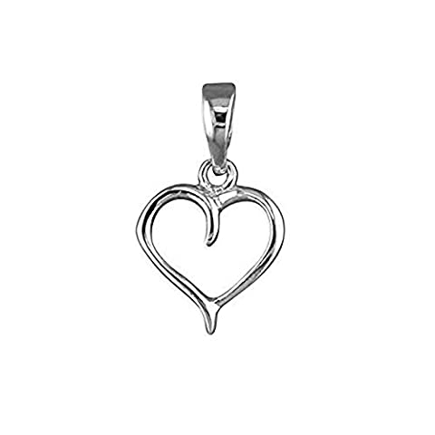 Small Open Heart Sterling Silver Pendant - On 20