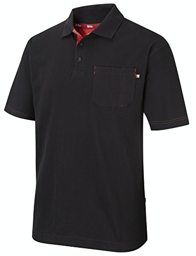 Lee Cooper Workwear LCTS011 Pique Polo Shirt, XXL, schwarz, - Red Französisch Manschette Shirt