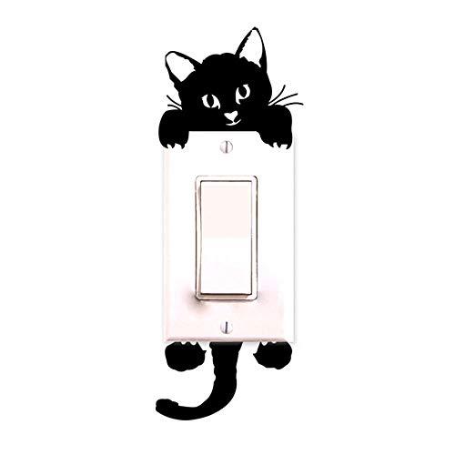 Switch Sticker Home Decor Cartoon Glowing Wall Stickers Dark Glow Decoration Sticker, Cat Cute Creative ()