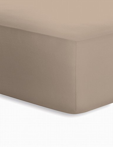 Schlafgut Jersey-Elasthan Boxspring Spannbetttuch, Baumwoll-Mischgewebe, Taupe, 220 x 200 cm -