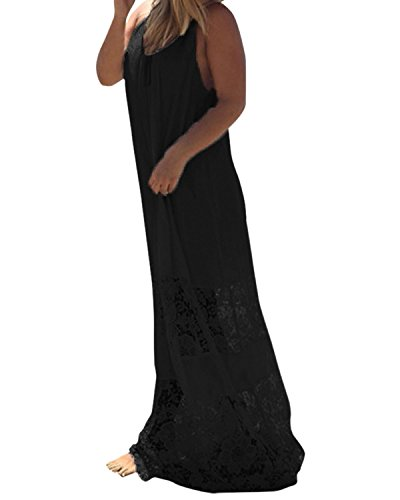 ZANZEA Sexy Femme Robe Sans Manches Lace Crochet Dentelle Boho Plage Maxi Longue Noir