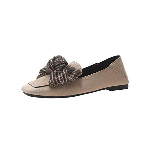 Day.LIN Elegant Retro Damen Leicht Weich Flache Halbschuhe Atmungsaktive Casual Geschlossene Ballerinas Schuhe