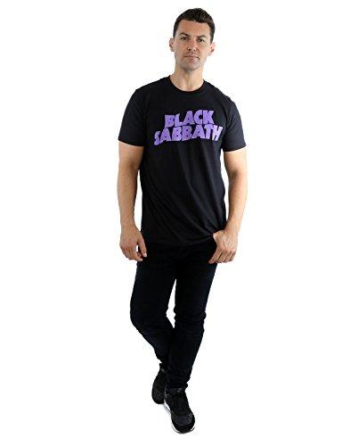 Black Sabbath Herren T Shirt Schwarz Classic Wavy Vintage band offiziell Schwarz